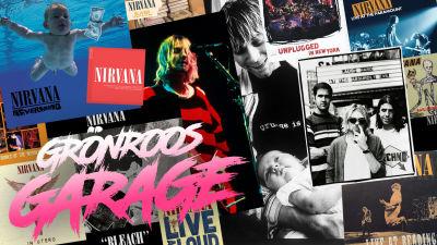 Grönroos garage logo och Nirvana kollage med alla skivor plus bandfoton.