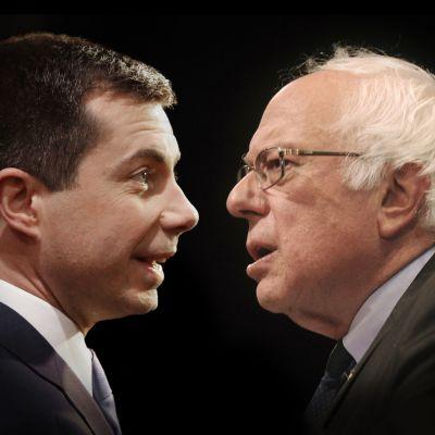 Yhdysvaltain demokraattisen puolueen johtavat ehdokkaat Pete Buttigieg ja Bernie Sanders