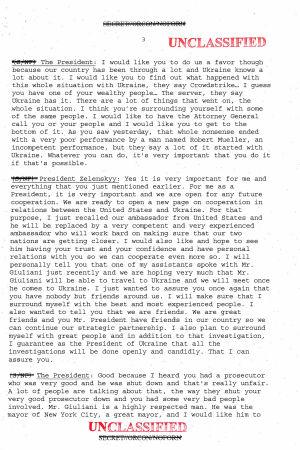 Transkription av samtal mellan Donald Trump och Volodymyr Zelenskyj.
