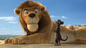 Leijona ja joku toinen aavikon eläin katsovat toisiaan.