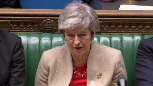Premiärminister theresa May i underhuset under fredagens brexitdebatt.