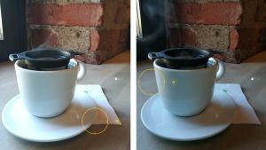 Kaksi kuvaa teekupista, valotus mitattu eri kohdista.