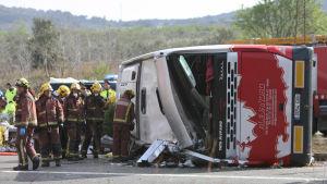Åtminstone 13 döda i bussolycka i Spanien den 20 mars 2016.