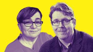 Kuvassa ovat opettaja Maarit Korhonen ja erityispedagogiikan professori Mikko Aro