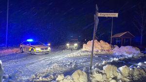 Polisbilar samlade i Norge efter jordskred 30.12.