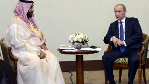 Mohammad bin Salman Al Saud och Vladimir Putin,