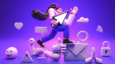 Kuvituksessa hahmo seikkailee digitaalisten symbolien ja emojien joukossa. Digitaidot on hallussa.