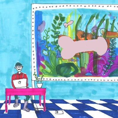 Illustration av man som skriver vid dator och snoppfisk i akvarium i bakgrunden