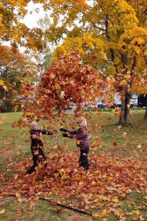 Två barn kastat upp höstlöv i luften.
