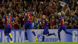 Lionel Messi har satt in ett av Barcelonas totalt sju mål mot Celtic.