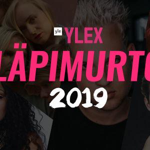 YleX Läpimurto 2019 -tekstin alla Ruusujen, Ettan, Lukas Leonin, Eetun ja Tuure Boeliuksen kuvista koottu kollaasi.