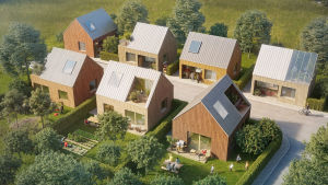 Skiss över bostadsområde med småhus.