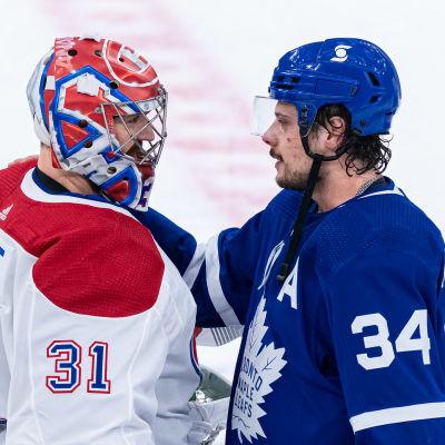 Carey Price ja Auston Matthews NHL:n pudotuspelisarjan ratkettua.
