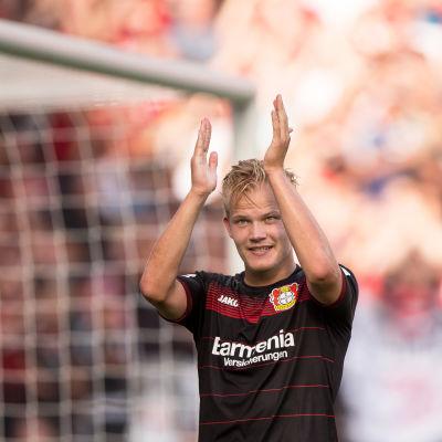 Joel Pohjanpalo efter hattricket, Leverkusen-HSV, september 2016.