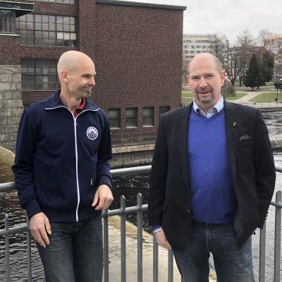 Tamperelainen Ilkka Palmu ja Tampereen sähkölaitoksen johtajalla Jussi Laitinen