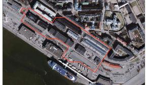 En luftbild över området på Skatudden där staden planerar en parkeringsgrotta