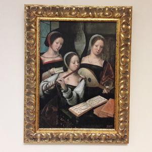 Målning av tre kvinnor som spelar flöjt och mandolin.