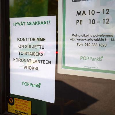 Kinnulassa pankki on sulkenut konttorinsa koronan vuoksi.