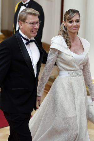 Mika och Marketa Häkkinen på slottspalen.