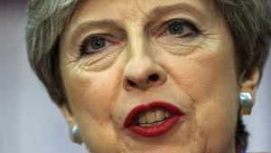 Storbritanniens premiärminister Theresa May under valnatten 8.6.2017