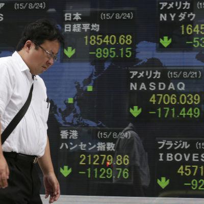 Tokyobörsen föll efter den kinesiska börsraset 24 augusti 2015.