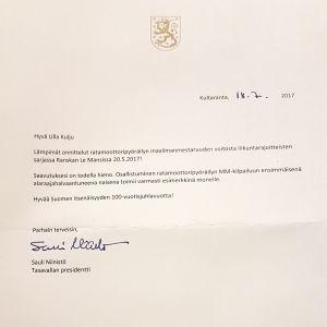 Tasavallan presidentin kirje Tuhkimotarinoiden Ullalle