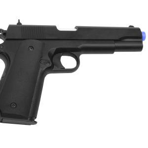 Ett vapen av så kallad airsoft-typ. Det används för att skjuta platskulor med. Det är svart.