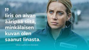 Iina Kuustonen roolissaan Syke-sarjassa, päälle liitetty tekstiä.