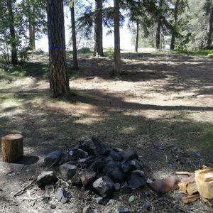 En grillplats utomhus med kol och ved.