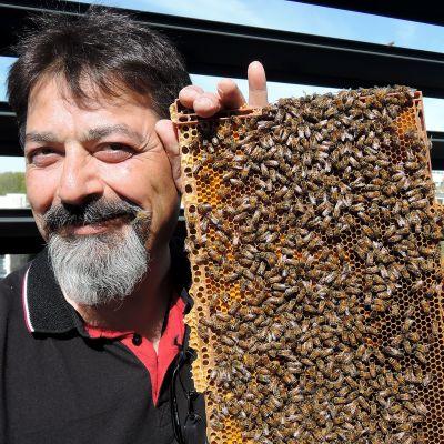 Kamran Fakhimzadeh hoitaa citymehiläisiä BW Towerin kattotasanteella Lahdessa.
