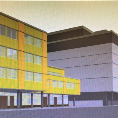 Havainnekuva Joensuun Torikadulle suunnitellusta uudesta kerrostalosta, johon tulee seitsemän kerrosta.