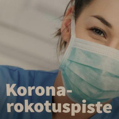 Koronarokotuksesta kertova juliste Kuokkalan vanhalla terveysasemalla.