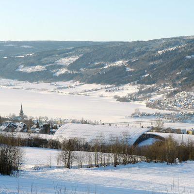 En allmän bild från ett vintrigt Lillehammer.