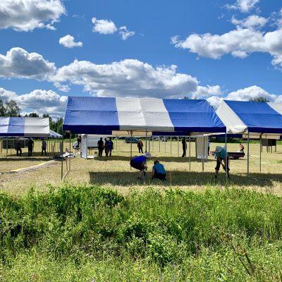 Talkoolaiset pystyttävät telttoja Kainuun Rastiviikolle Sotkamossa.