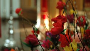 Punaisilla kukilla koristeltuja pajunoksia Valamon luostarissa pääsiäisen aikaan.