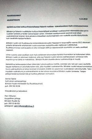 Informtionsbrev på finska till invånare i hyresbostäder om försäljning av bostäderna.