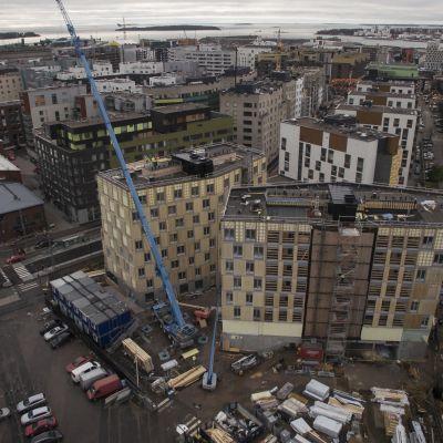Jätkäsaaren Puukorttelin rakennustyömaa