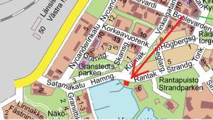 En karta över östra hamnen i Hangö.