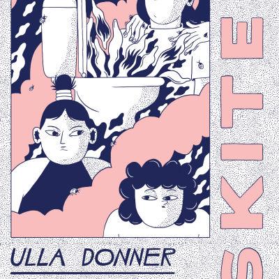 Närbild på bokpärmen till Ulla Donners seriebok Skiten.