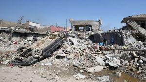 Ruinerna efter den dödliga amerikanska flygräden i västra Mosul i mars 2017.