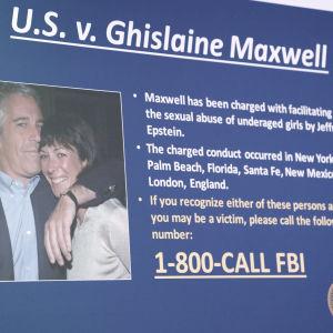 Jeffrey Epstein ja Ghislaine Maxwell poliisin julkaisemassa kuvassa.