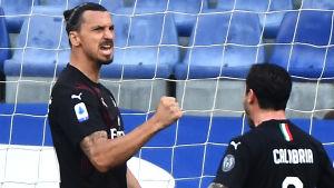 Zlatan Ibrahimovic jublar för Milan.