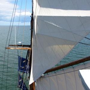 Näkymää mastosta purjeen takaa merelle ja horisonttiin