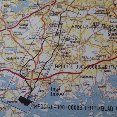Om gasröret  byggs dras det mellan Joddböle i Ingå och Pölans i Sjundeå