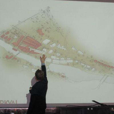 Såhär vill Olli Muurainen att bruket ska se ut i framtiden. De bruna byggnaderna är i planeringsskede.