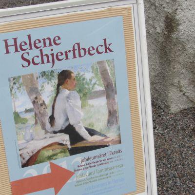 Skylt vid Schjerfbeck-utställning i ekenäs
