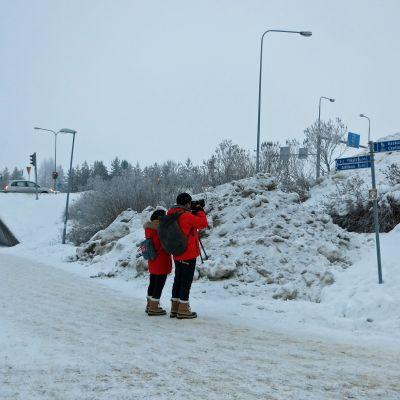 Turistit kuvaavat kylttiä Rovaniemellä.