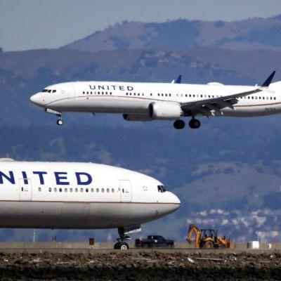 United Airlines -yhtiön Boeing-koneita kuvattuna San Franciscon kansainvälisellä lentoasemalla maaliskuussa 2019.