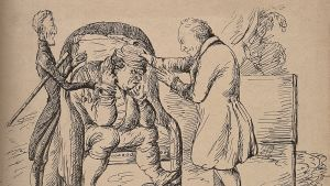 A doctor examining a disgruntled patient, John Bull, who is being reassured by his master. Lithograph by Crichtoss after Begister.