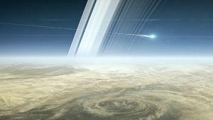 Cassini syöksyy Saturnukseen (piirros).